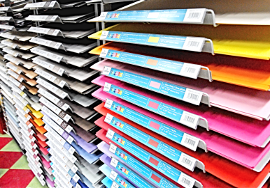 Multi-colored paper at art store